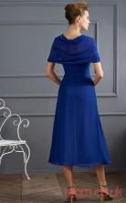 Blue Chiffon A-line Tea-length Off The Shoulder Short Sleeve Graduation Dress(JT2179)