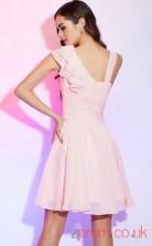 Blushing Pink Chiffon A-line Short Asymmetric Short Sleeve Graduation Dress(JT2180)
