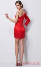 Red Tulle Sheath Short One Shoulder Long Sleeve Graduation Dress(JT2188)
