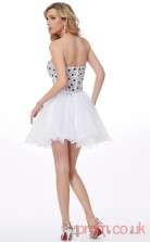 White Tulle A-line Short Sweetheart Graduation Dress(JT2191)
