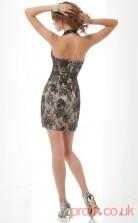 Black Lace Sheath Short V-neck Graduation Dress(JT2192)