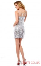 Silver Sequined Sheath Short Scoop Graduation Dress(JT2193)