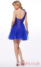 Ocean Blue Chiffon A-line Short One Shoulder Graduation Dress(JT2209)
