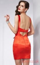 Tomato Chiffon Sheath Short V-neck Graduation Dress(JT2211)