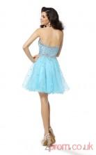 Sky Blue Tulle A-line Mini Sweetheart Graduation Dress(JT2235)