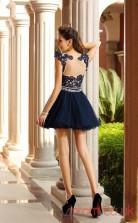 Navy Blue Tulle Lace A-line Mini Illusion Short Sleeve  Graduation Dress(JT2240)