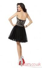 Black Lace Tulle A-line Mini Sweetheart Graduation Dress(JT2247)