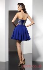 Blue Chiffon A-line Mini Sweetheart Graduation Dress(JT2248)