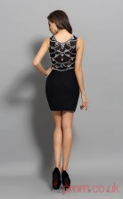 Black Satin Chiffon Sheath Mini Bateau Graduation Dress(JT2251)