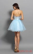 Light Blue Tulle Strenth Satin A-line Mini Sweetheart Graduation Dress(JT2252)