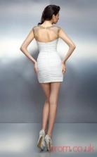 White Charmeuse Sheath Mini Illusion Graduation Dress(JT2258)