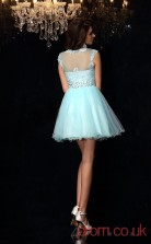 Light Blue Tulle Lace A-line Mini Illusion Short Sleeve  Graduation Dress(JT2264)
