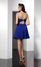 Royal Blue Chiffon A-line Mini Illusion Short Sleeve  Graduation Dress(JT2265)