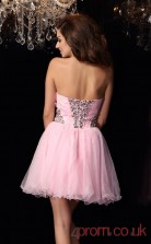 Blushing Pink Tulle A-line Mini Sweetheart Graduation Dress(JT2279)