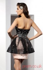 Black Satin Tulle A-line Mini Sweetheart Graduation Dress(JT2282)