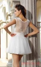 White Lace Tulle A-line Mini Illusion Bateau Short Sleeve  Graduation Dress(JT2302)