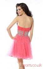Watermelon Tulle A-line Mini Sweetheart Graduation Dress(JT2305)