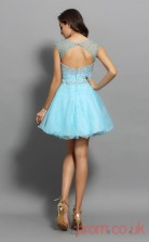 Light Blue Tulle A-line Mini Illusion Bateau Short Sleeve  Graduation Dress(JT2307)