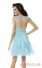 Light Blue Tulle A-line Mini Illusion Graduation Dress(JT2322)