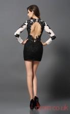 Black Lace Sheath Mini Jewel Long Sleeve  Graduation Dress(JT2327)