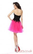 Hot Pink Tulle Lace A-line Mini Sweetheart Graduation Dress(JT2328)