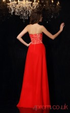 Bright Red Chiffon Lace A-line Floor-length Sweetheart Graduation Dress(JT2332)