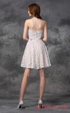 Ivory Lace A-line Mini Strapless Graduation Dress(JT2337)