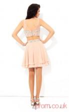 Pink Chiffon A-line Mini IllusionTwo Piece  Graduation Dress(JT2342)