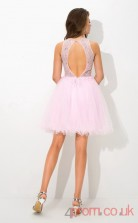 Pink Tulle A-line Mini Sweetheart Graduation Dress(JT2350)