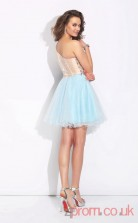 Light Blue Tulle A-line Mini Sweetheart Long Sleeve  Graduation Dress(JT2353)