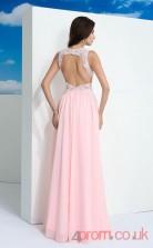 Blushing Pink Chiffon A-line Floor-length High Neck Halter Graduation Dress(JT2356)