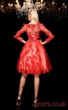 Red Tulle A-line Knee-length V-neck 3/4 Length Sleeve  Graduation Dress(JT2357)