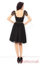 Black Chiffon A-line Mini Scoop Short Sleeve  Graduation Dress(JT2362)