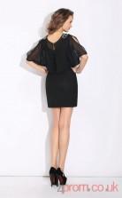 Black Chiffon Sheath Mini One Shoulder Short Sleeve  Graduation Dress(JT2364)