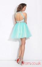 Light Blue Tulle A-line Mini Bateau Graduation Dress(JT2365)