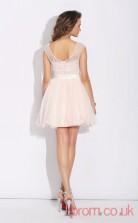 Blushing Pink Tulle A-line Mini Illusion Short Sleeve  Graduation Dress(JT2369)