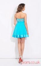 Dark Turquoise Chiffon A-line Mini Bateau Graduation Dress(JT2370)