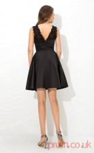Black Satin A-line Mini Illusion Graduation Dress(JT2372)