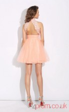 Pink Tulle Lace A-line Mini High Neck Halter Graduation Dress(JT2375)