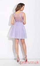 Lilac Tulle A-line Mini High Neck Halter Graduation Dress(JT2376)