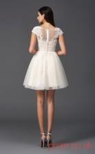 Beige Tulle Lace A-line Mini Illusion Bateau Short Sleeve  Graduation Dress(JT2377)