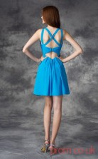 Ocean Blue Chiffon A-line Mini V-neck Graduation Dress(JT2390)