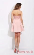 Pink Satin Lace A-line Mini Sweetheart Graduation Dress(JT2393)