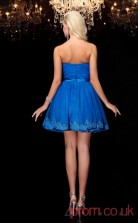 Ocean Blue Tulle A-line Mini Strapless Graduation Dress(JT2399)