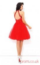 Red Tulle A-line Mini Halter Graduation Dress(JT2400)