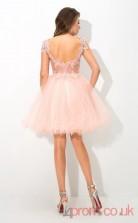 Pink Tulle A-line Mini Illusion Short Sleeve  Graduation Dress(JT2402)