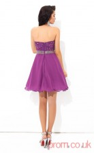 Purple Lace Chiffon A-line Mini Sweetheart Graduation Dress(JT2405)