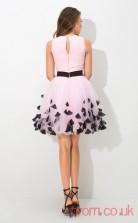 Blushing Pink Chiffon A-line Mini Bateau Graduation Dress(JT2410)