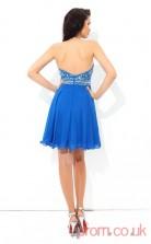Ocean Blue Chiffon A-line Mini Halter Graduation Dress(JT2419)