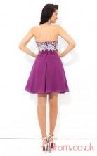Purple Chiffon A-line Mini Sweetheart Graduation Dress(JT2440)